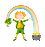 Saint Patricks Day. Leprechaun with pot of gold