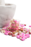 Pink pills and marble mortar