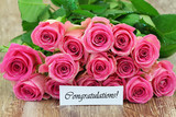 Congratulations card with pink roses bouquet with glitter