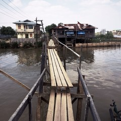 wooden bridge at Myanmar's Inle lake