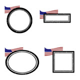 Set of grunge rubber stamps with the flag of USA