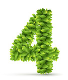 Number, vector alphabet of green leaves