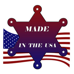 Star with made in America, USA flag, vector illustration