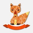 Cute fox illustration filled with geometric pattern