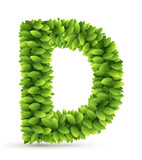 Letter D,  vector alphabet of green leaves