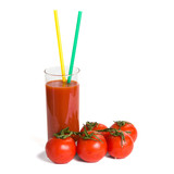Tomato juice and tomatos, isolated over white background