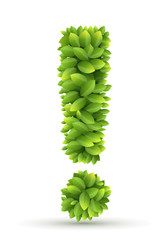 Exclamation mark, vector alphabet of green leaves