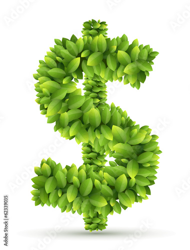 Dollar sign, vector alphabet of green leaves