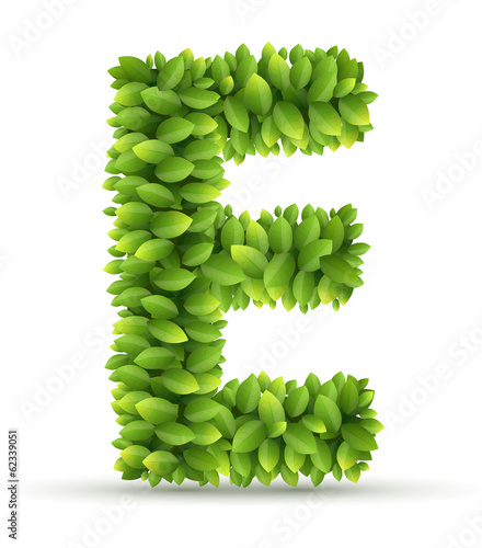 Letter E,  vector alphabet of green leaves