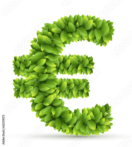 Euro sign, vector alphabet of green leaves