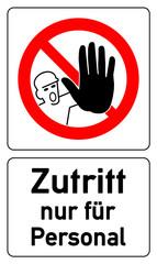 Türschild - Zutritt nur für Personal - g589