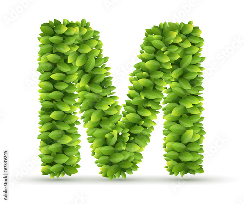 Letter M,  vector alphabet of green leaves