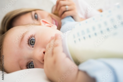 Closeup of baby boy drinking milk