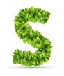 Letter S,  vector alphabet of green leaves