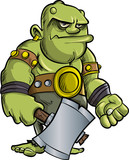 Cartoon ogre with a big axe