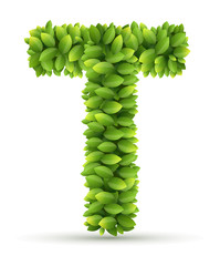 Letter T,  vector alphabet of green leaves