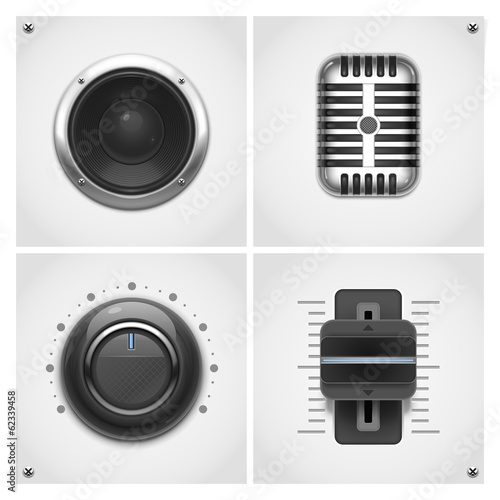 audio and music tools vector icons
