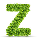 Letter Z,  vector alphabet of green leaves