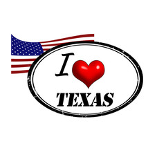 Grunge stamp with text I Love Texas inside and USA flag
