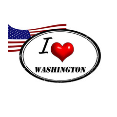 Grunge stamp with text I Love Washington inside and USA flag