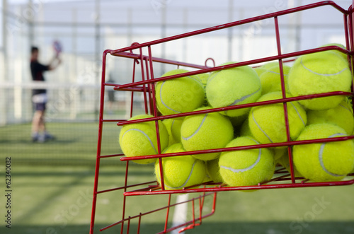 Balls in basket, Paddle or tenis training