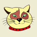 Vector drawing of a ridiculous cat in a collar