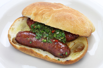 choripan, chorizo hot dog with chimichurri sauce, Argentine food