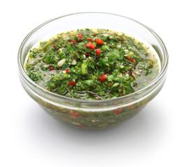 chimichurri sauce, traditional Argentine condiment