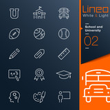 Lineo White & Light - School and University outline icons