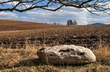 Big stone next to the plowed field in early spring