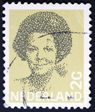 Stamp printed in the Netherlands shows image of Queen Beatrix