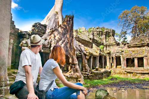 Couple at Preah Khan temple , Siem Reap, Cambodia.
