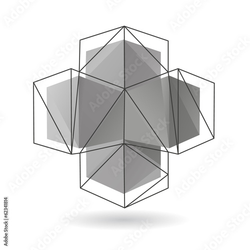 Abstract geometric shape isolated on a white backgrounds