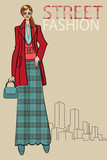 Fashionable girl in long skirt and coat.Fashion Illustration