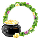 Clover wreath and  pot with gold
