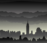 New York at Monsoon day-Vector