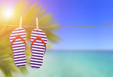 flip flops on the clothesline with the beach landscape