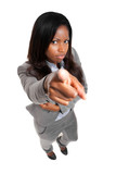 Black full length businesswoman pointing at you