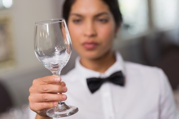 Pretty waitress holding up a wine glass
