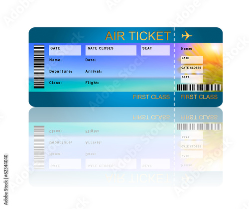 airline boarding pass ticket with shadow isolated over white