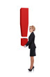 businesswoman holding exclamation mark