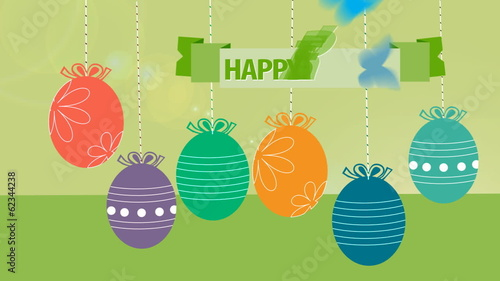 Happy Easter! Hanging Easter eggs animated.