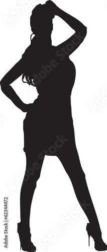 Illustration silhouette of a woman in an evening dress