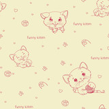 Cartoon seamless pattern with cute catsny cats