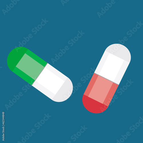 Pills over blue background