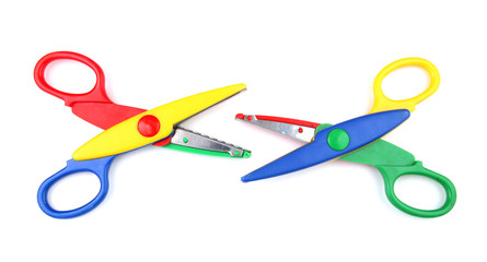 Two colorful open scissors