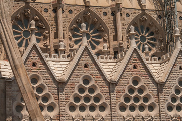 Sagrada Familiar sculptures in Barcelona, Spain, summer