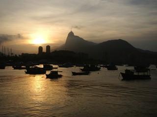Christ the Redeemer in sunset, Rio de Janeiro, Brazil