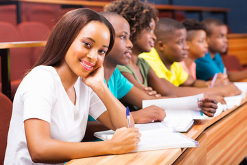 group of african american university students in lecture room