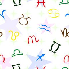 знаки зодиака бесшовный фон